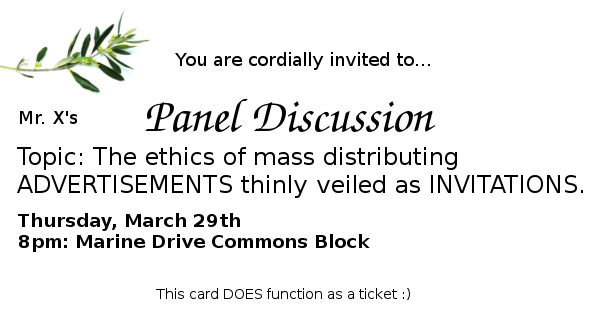 Tickets inviting people to a panel discussion about how the other tickets sucked.