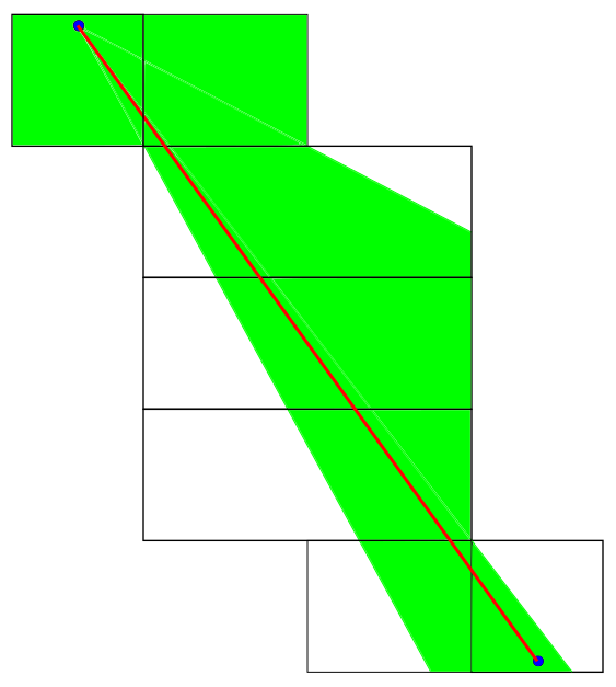 A net produced by cutting away from the edges that will give a different path length than any of the 132 canonical ones.