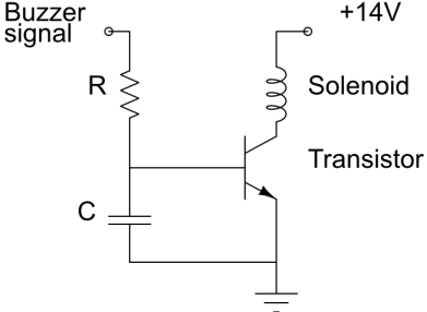 Circuit diagram involving a solenoid, a transistor and a low-pass filter.