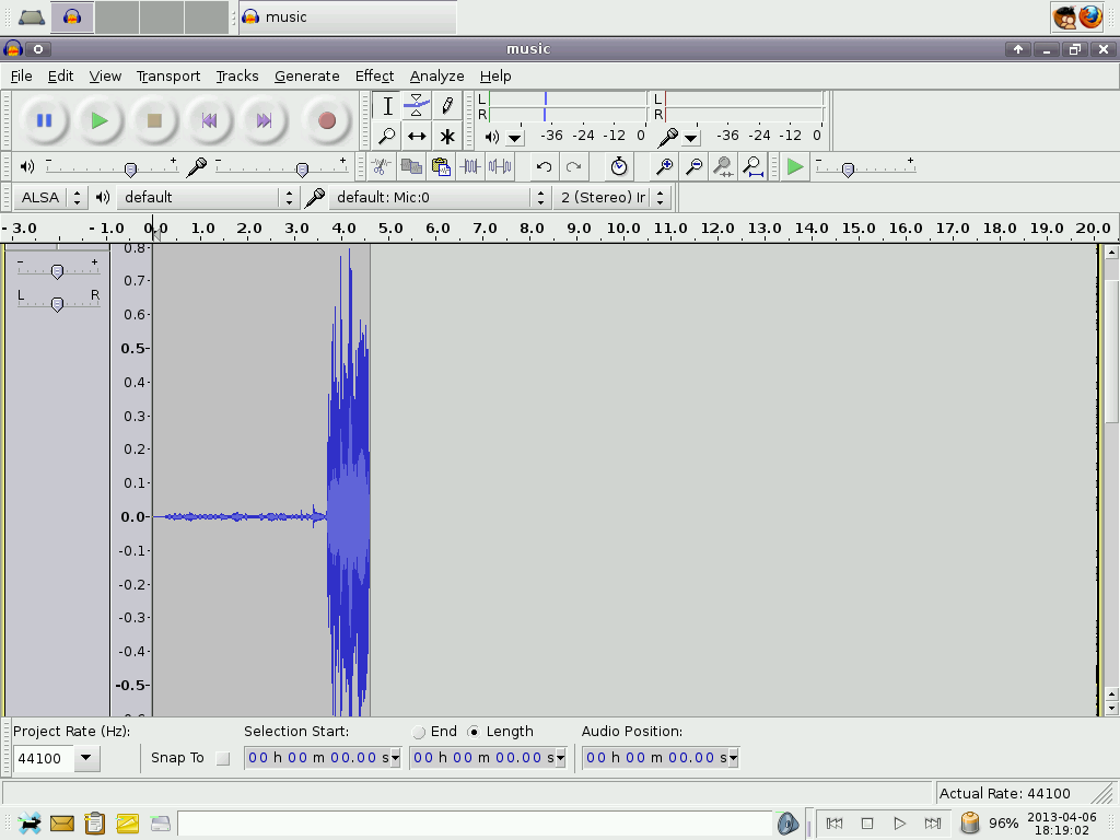 Audacity screenshot showing the amplitude of the loud sound.