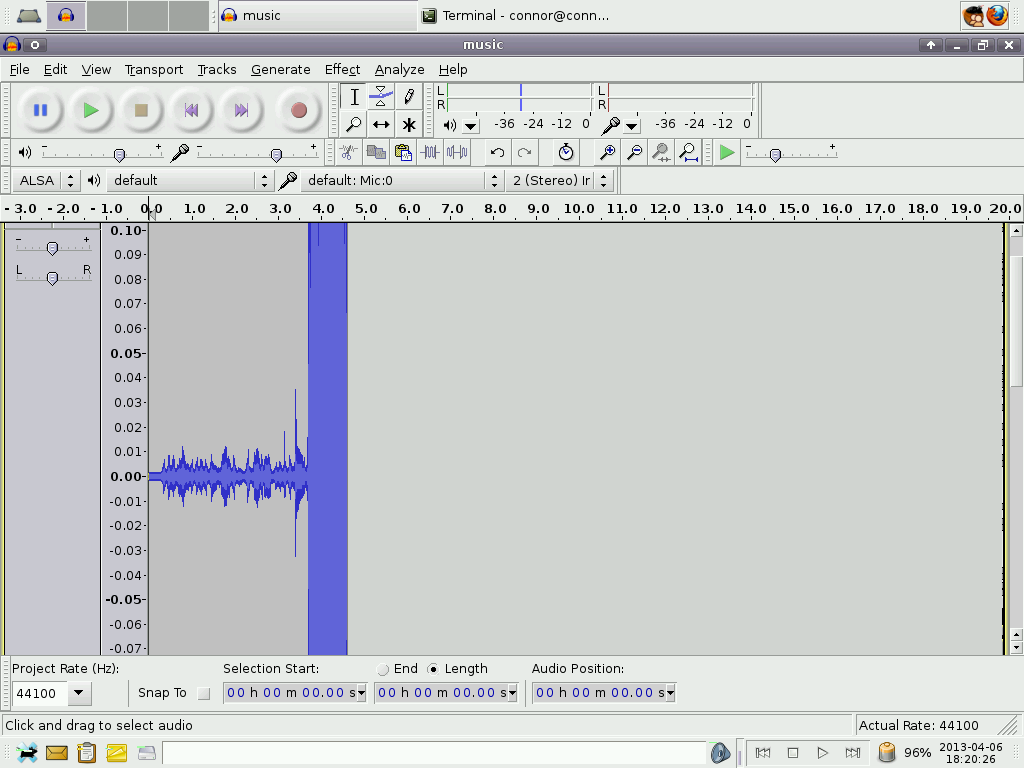 Audacity screenshot showing the amplitude of the soft sound.